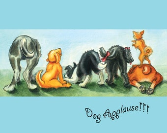 Congrats Card with Puppy Dog Tails Wagging in Celebration
