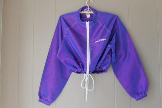 ON SALE 90s Iridescent Purple Windbreaker / Cropped by Liinaloom