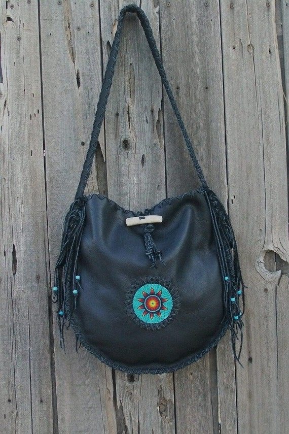 Designer handbag ,  Black leather tote ,  Beaded leather handbag ,  Large fringed handbag , Leather handbag  ,  boho tote bag