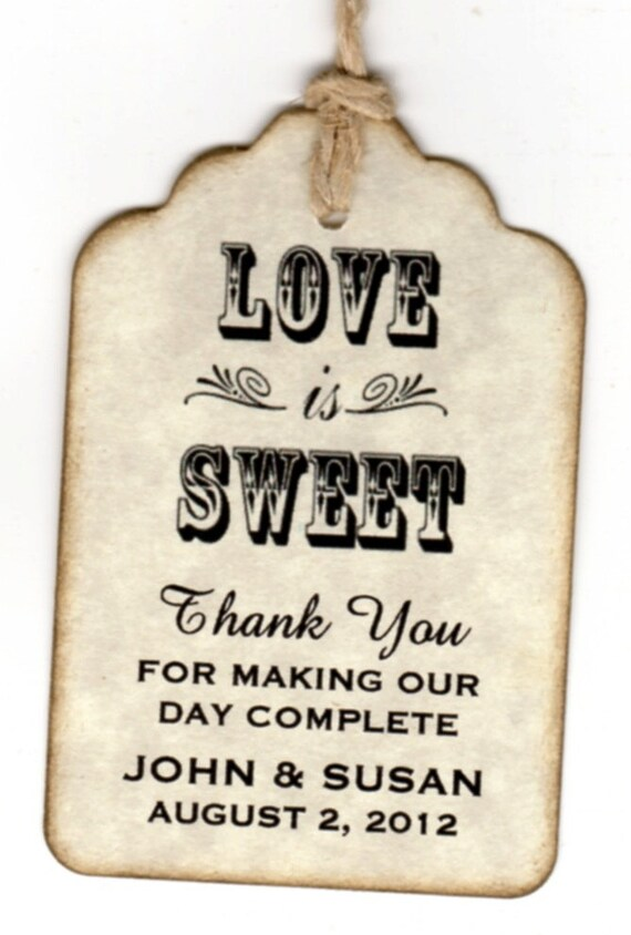 Custom Listing For Catherine - 30 Additional Wedding Favor Tags / Place Cards / Escort Tags / Love Is Sweet / Honey Labels - Vintage