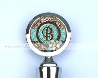 Personalized gifts for women, monogram Wine Stopper, Wedding Wine Stopper - Teal Blue Brown Damask with Initial Monogram,wedding favors