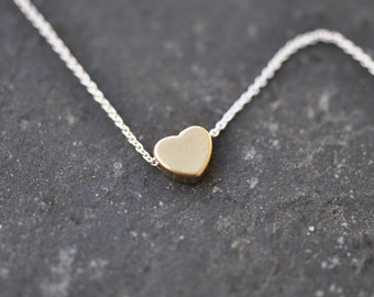 tiny Gold heart necklace, Gold and silver heart necklace, mini Gold heart necklace