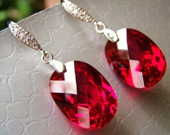 Sale Luxury Vibrant Ruby Red Topaz Sterling Pave Earrings