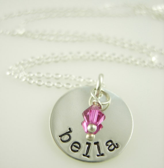 Hand Stamped Necklace - Name Charm Necklace - Handstamped Jewelry