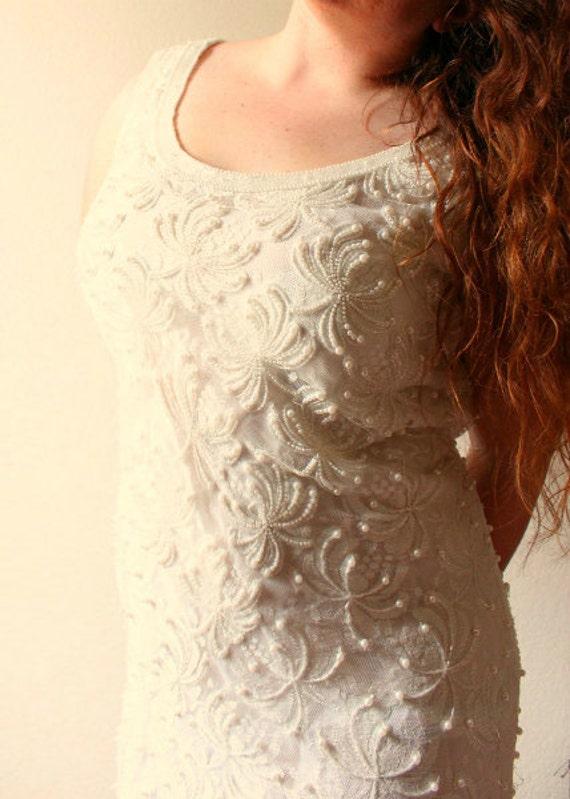 SALE New Low Price Vintage Short Flapper Beaded Bridal Wedding Dress 'Sistine'