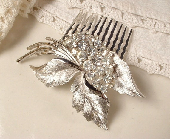 Vintage Signed TRIFARI Rhinestone Brushed Silver Bridal Hair Comb - Silver Plated Heirloom Floral Spray Brooch Comb