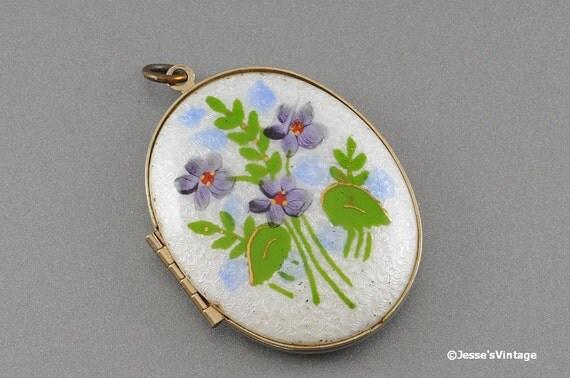 Guilloche Enamel Locket Purple Violets Green Foilage Blue