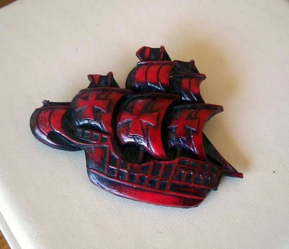 SALE Sailing Ship Brooch - Nautical - Boat - Red Brooch - Pirate Ship - Celluloid - Unusual - Vintage