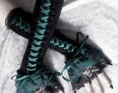 Woodland Wyvern Corset Laced Up Arm Warmers - Black - Dark Forest Midnight Green - Lace - Gothic Lolita Noir Wedding Belly Dance Tribal Goth