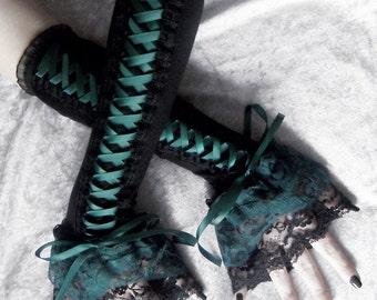Woodland Wyvern Corset Laced Up Arm Warmers | Black | Dark Forest Midnight Green | Lace | Gothic Lolita Noir Wedding Belly Dance Tribal Goth