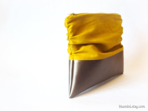 The Luxe Clutch - Foldover Clutch - Mustard Linen with Silver Grey Vegan Leather