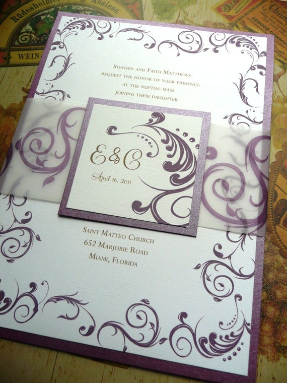 Purple Wedding Invitation / Eggplant Purple Wedding / The Vesta Invitation Sample