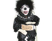 Clown Doll, Scary Clown, Black, Creepy Clown, Doll, Onyx, Ebony, Raven Black, Coal, Midnight, Black Marabou, Skeleton, Black and White