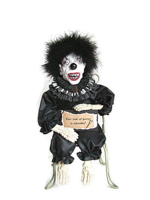 Clown Doll, Scary Clown, Black, Creepy Clown, Doll, Onyx, Ebony, Raven Black, Coal, Midnight, Black Marabou, Skeleton, Black and White