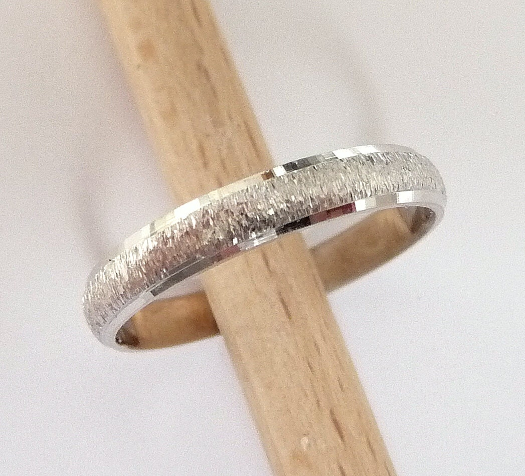 White gold wedding ring womens mens wedding band 3mm wide 14k