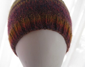 Hand Knitted Beanie with Stripes