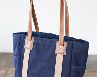 Carry Tote in Navy Waxed Canvas & Brown Horween Leather