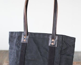 Carry Tote in Black Waxed Canvas & Black Horween Leather