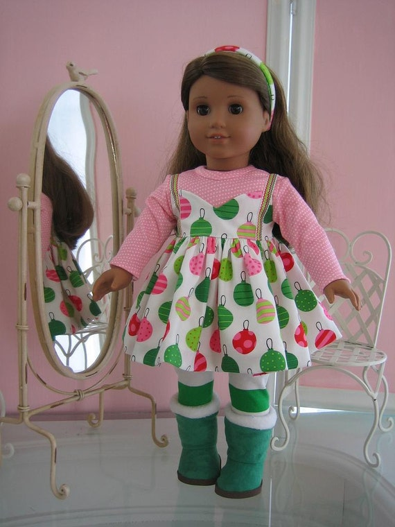 18 inch American Girl Doll Clothes /Christmas dress, leggings and Boots
