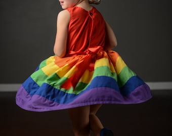 Rainbow Dress sizes  5 6 7 8 by Rugrat Design Full twirly rainbow skirt with fully lined bodice