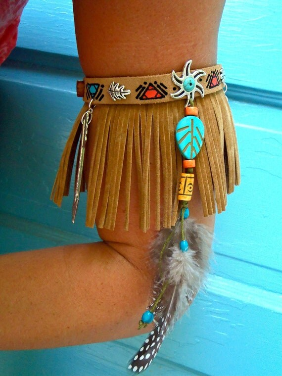 ARM BAND NATIVE leather Fringe Arm Cuff Cowboy Boot Band Fringe Choker Gypsy sun feather arm band feather arm cuff Tribal hunger games nomad