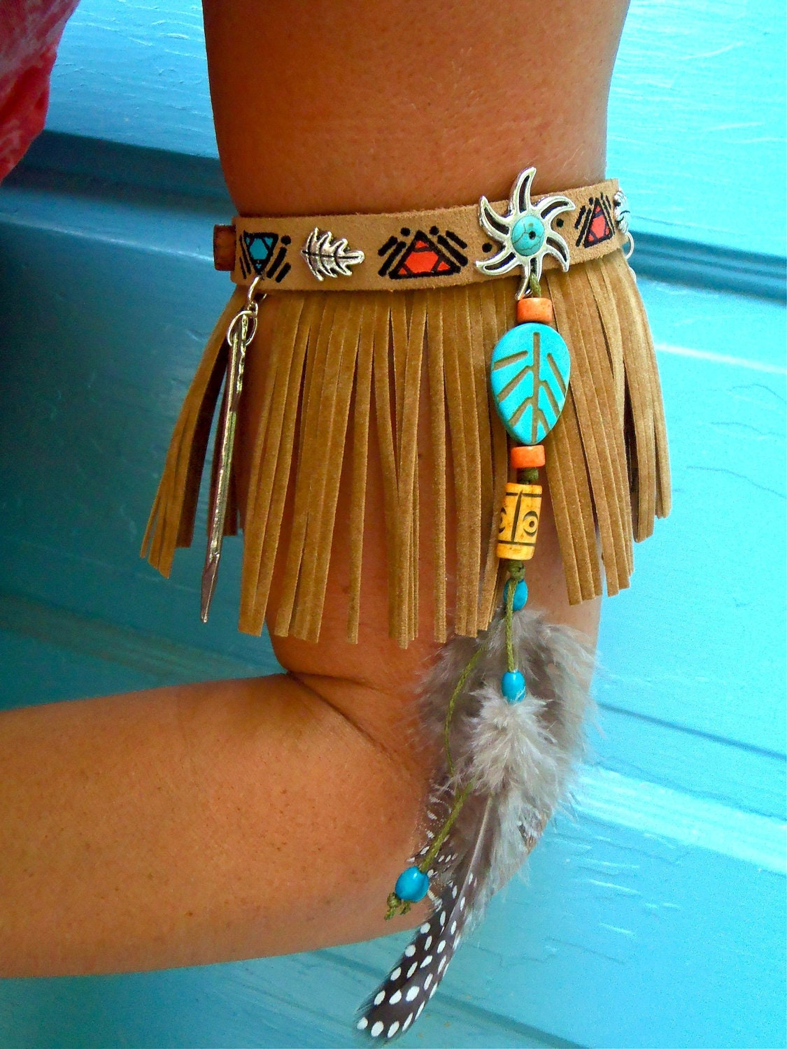 Arm Band Native Leather Fringe Arm Cuff Cowboy Boot Band