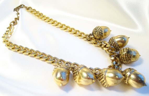 1980's Chunky Gold Yves St Laurent Acorn Necklace