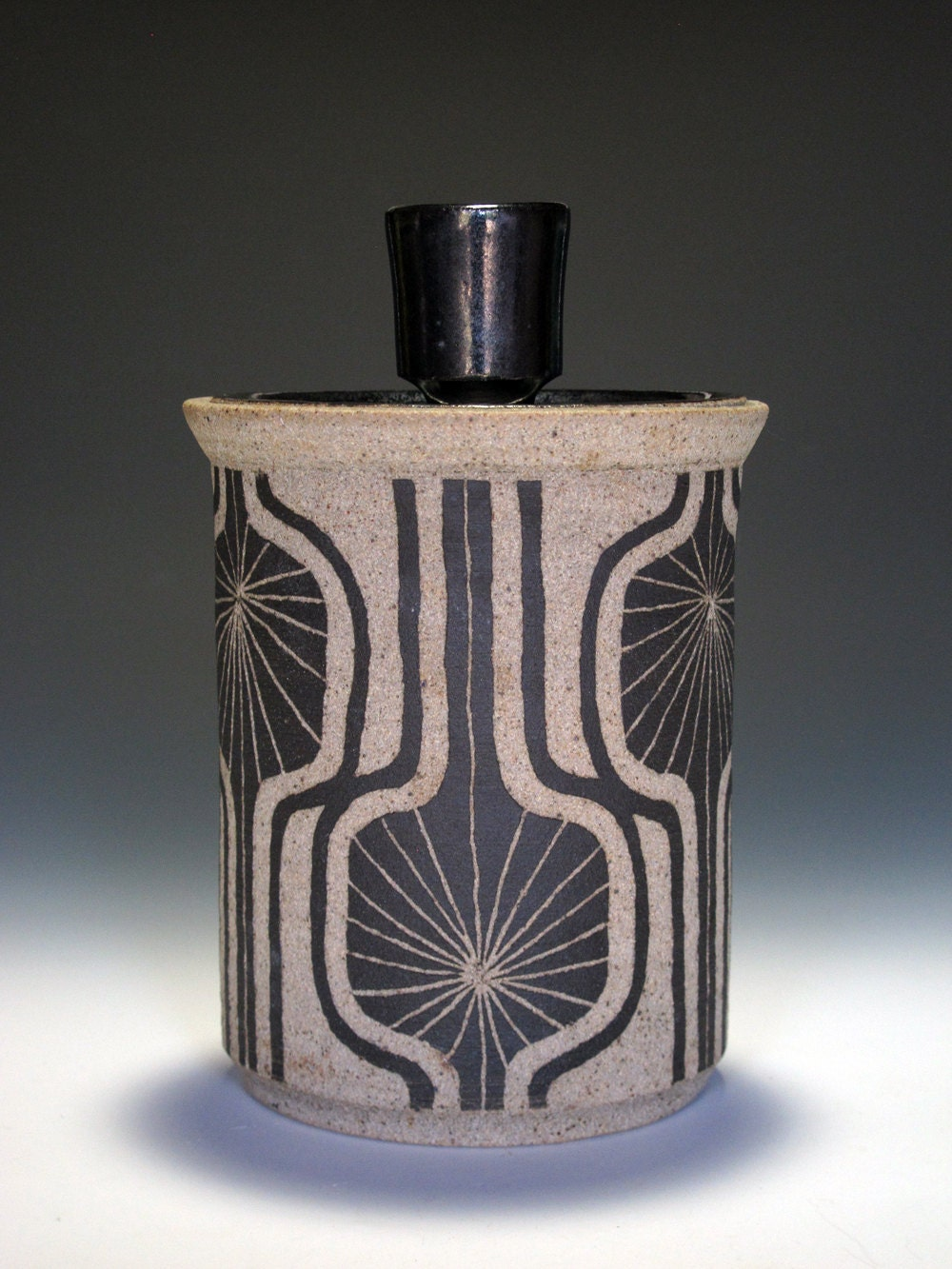 Handmade Ceramic Jar With Lid And Abstract Modern Motif
