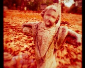 Cemetery - Graveyard - Childs Grave - Cemetery Photo - Tombstone 10 x 10 Print - Fine Art Photograph