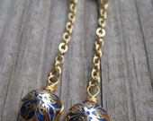 Blue And Orange Enameled Floral Drop Earrings