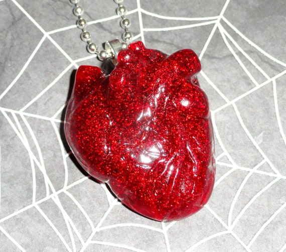 Tear My Heart Out - Anatomical Heart Necklace in Blood Red Glitter Resin