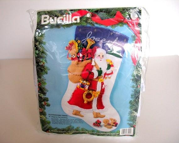 Bucilla christmas stocking kit old fashioned santa felt new for Fashion christmas stockings