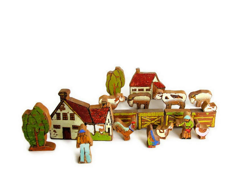 Vintage Toy Wooden Farm Set House Barn Animals Fence by veraviola
