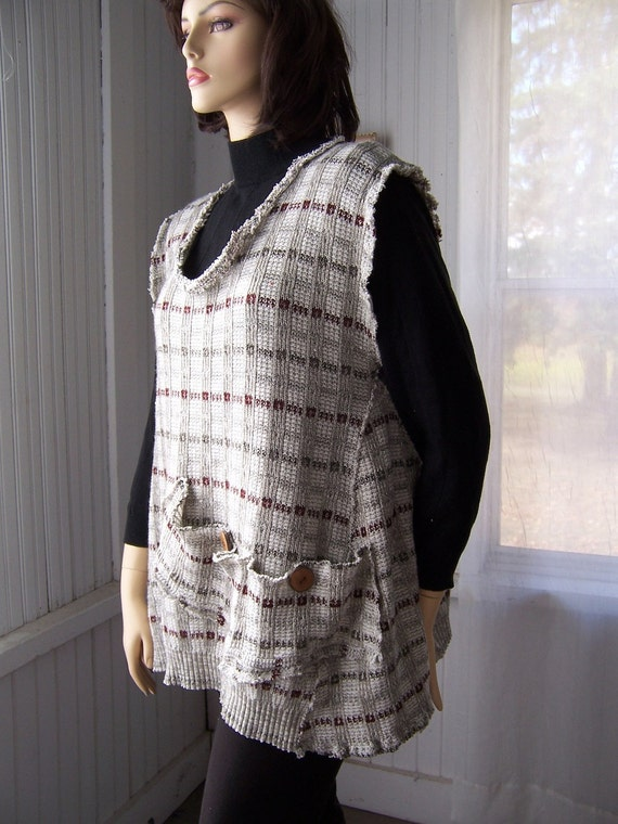 Reconstructed  Sweater Tunic Jumper Layering Vest Earth Tones Big Pocket One Size