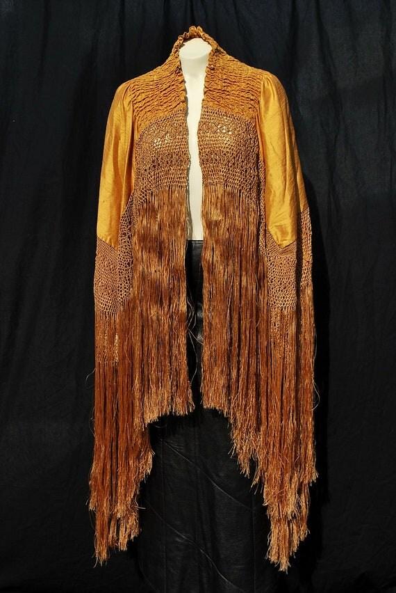 REDUCED Vintage 20s silk piano shawl cape art deco