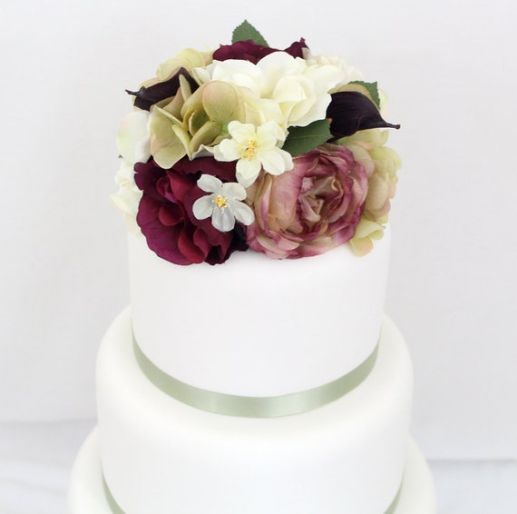 Silk Flower Wedding Cake Toppers: Wedding Cake Topper Victorian Inspired Burgundy By