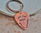 Our Dad Rocks - Personalized Copper Guitar Pick Key Chain with Two Names of Your Choice