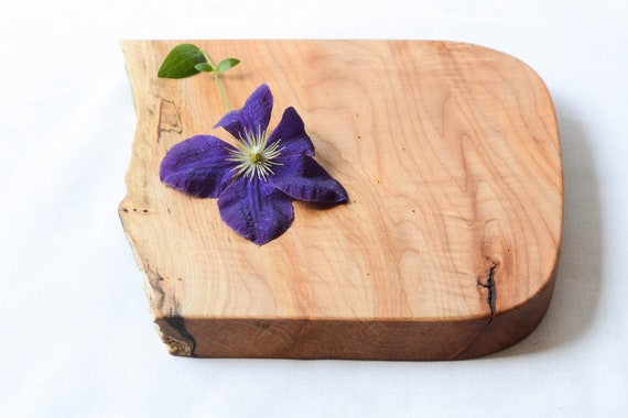 Organic Original Wooden Serving Board, Natural Edge Salvaged Maple 675, Ready to Ship