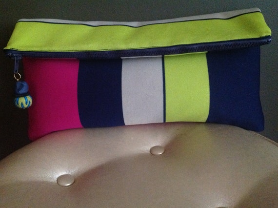 Oversized Lime Green,Purple, Eggshell, and Blue Striped Fabric Clutch