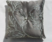 Gilded Leaves - Ring Bearer Pillow - Silver & Taupe  - Silk, Cotton
