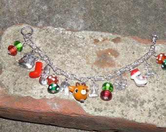 Christmas Bracelet, Rudolph the Red Nosed Reindeer Silver Charm Bracelet, Handmade Artisan Lampwork Glass Christmas Jewelry, Holiday #2 OOAK
