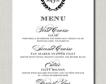 Laurel Wreath Menu - Set of 75 Custom Menus for Weddings, Events, Parties and More - by Abigail Christine Design