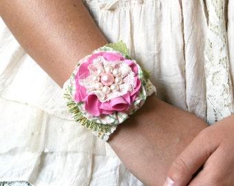 Wrist Corsage, Pink Corsage, Fabric Flower Cuff Bracelet, Textile Cuff Bracelet, Prom Corsage, Teen Girl Gift, Bridesmaid Floral Cuff