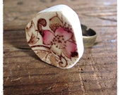 Vintage China Ring, Pink Brown Floral, Upcycled Plate, Adjustable Flower Ring, Rustic Jewelry
