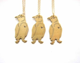 penguin necklace with a tiny heart - vintage brass hand stamped jewelry winter / Valentine's Day