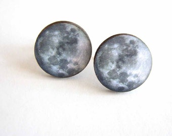 spooky blue moon cufflinks - mens full moon cuff links - gift for him under 25 / mens accessories