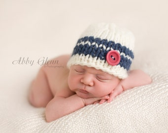 Blue and White Striped Beanie for Baby Boy, Beautiful Photography Prop