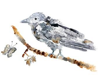 Bird Print, Woodland Decor, crow print, autumn art, halloween decor, crow painting, bird decor, woodland art, boys nursery art