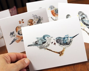 watercolor notecards, Love Birds Cards, Boxed cards Set, Gift for best friend, bird notecards, Bird Stationery
