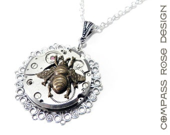 Steampunk Jewelry - Necklace Larger Watch Pendant with Golden Bee Accent Upcycled Mechanical Pocket Watch Movement - Silver Lace